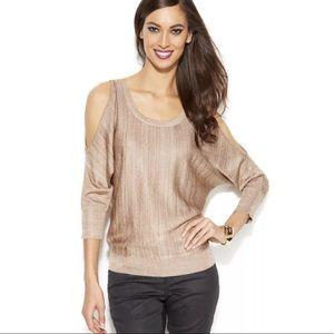 INC Gold Metallic Cold Shoulder Sweater Top